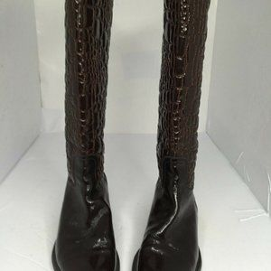 Womens Burgundy Leather Over knee Boots Shoes US 6